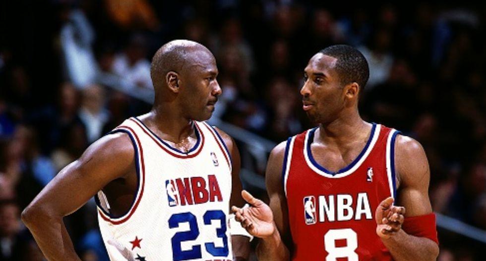 Michael Jordan y Kobe Bryant en el All-Star Game del 2003. (Foto: Getty Images)