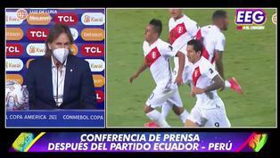 Copa América: Ricardo Gareca se pronuncia en conferencia de prensa tras empate con Ecuador