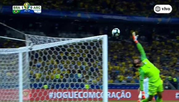 Argentina vs. Brasil: el 'cabezazo' al palo de Sergio Agüero. (América TV)