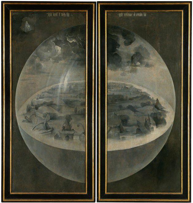 Este es el tríptico cerrado. Vemos cómo la Tierra aparece encerrada en una burbuja. (Foto: Wikipedia)