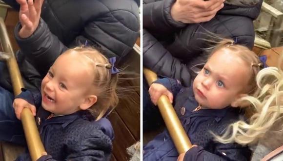 La reacción de Lilly fue captada por su mamá oportunamente. (Foto: Caters Clips   YouTube)