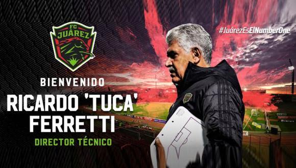 'Tuca' Ferretti fue anunciado como el nuevo entrenador de Juárez. (Foto: Juárez)
