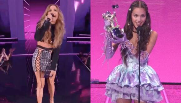 Jennifer Lopez y Olivia Rodrigo en los MTV VMAs 2021. (Foto: Captura MTV).