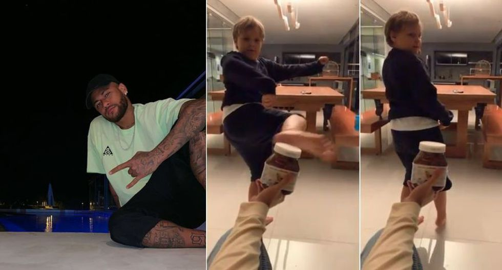 """Davi Lucca, el hijo de Neymar, cumplió el """"Challenge bottle"""" y su video explotó en Instagram con más de 12 millones de reproducciones. (Foto: Instagram Neymar Jr.)"""