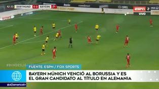Bayern Munich vence al Dortmund y seperfila como campeón de la Bundesliga