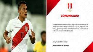 Selección peruana: Alex Valera fue convocado para afrontar la fecha triple de eliminatorias
