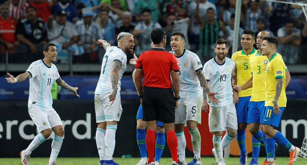 Brasil vs. Argentina Copa América 2019: falta sobre el Agüero que terminó en gol de Brasil. (Getty)