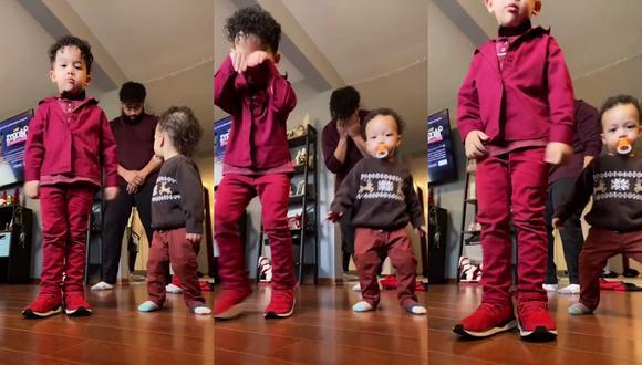 Un video viral muestra cómo un bebé se roba el show en una coreografía grupal en la que participaba junto a su padre y hermano manyor. | Crédito: @bearlytovar / TikTok