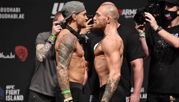 Los números de Conor McGregor y Dustin Poirier en la previa del UFC 257 en Abu Dabi. (UFC)