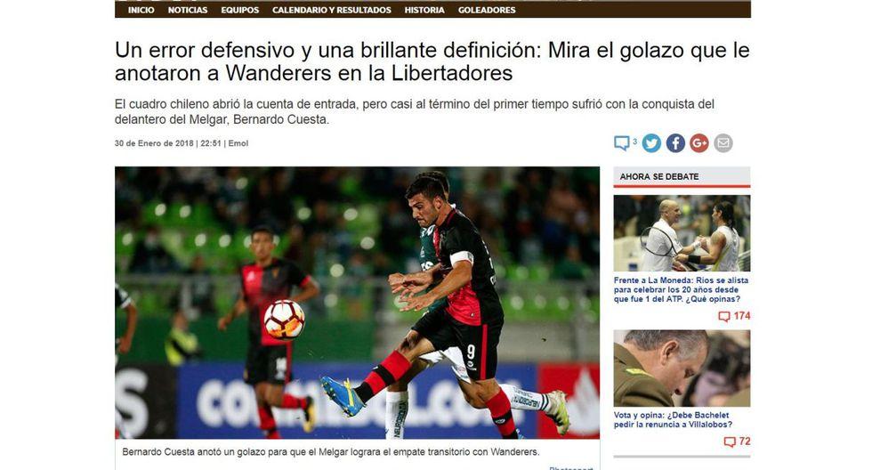 Melgar: así informó la prensa chilena sobre el empate ante Santiago Wanderers por Copa Libertadores