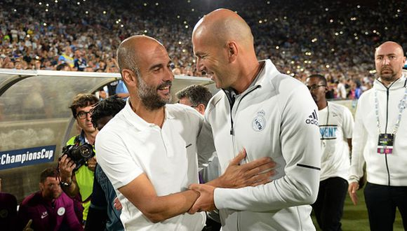 Zidane y Guardiola se verán las caras por octavos de final de Champions League. (Getty)
