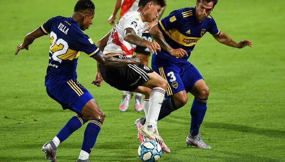 Boc y River protagonizaron un partido vibrante en el primer Superclásico del 2021 en La Bombonera. Mira todos los goles aquí. (Foto: AFP)