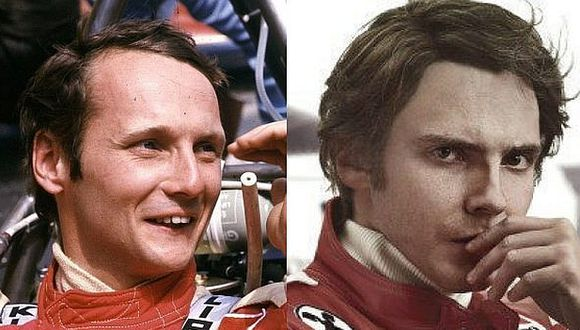 El verdadero Niki Lauda (derecha) y el actor Daniel Brühl (izquierda), quien lo interpreta en Rush.