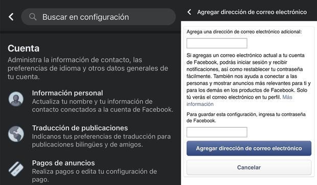 Conoce el método para poder cambiar tu correo electrónico de Facebook. (Foto: MAG)