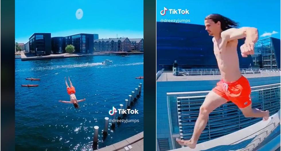 Tendencia: hombre remece TikTok por lanzarse al mar luego de un salto mortal. (Foto: Captura)
