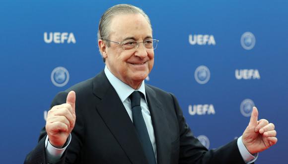 Florentino Pérez se reeligió en 2020 nuevamente presidente del Real Madrid. (AFP)