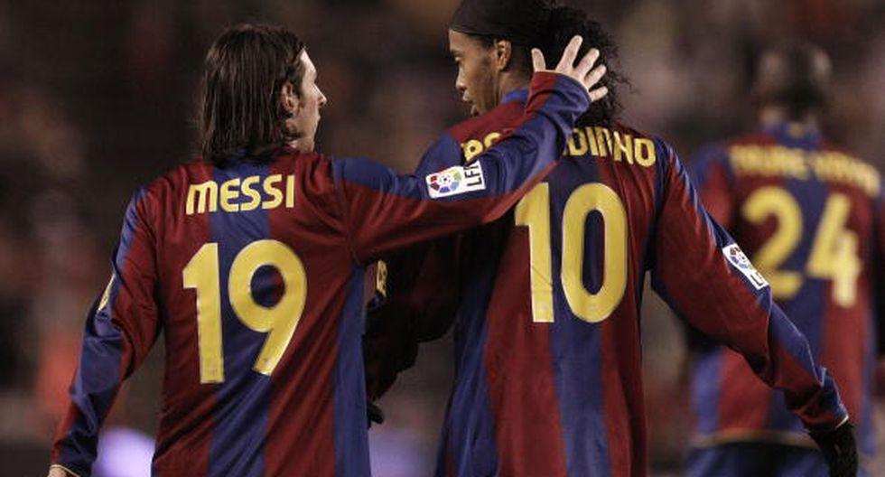 Messi y Ronaldinho jugaron juntos hasta 2008. (Getty)
