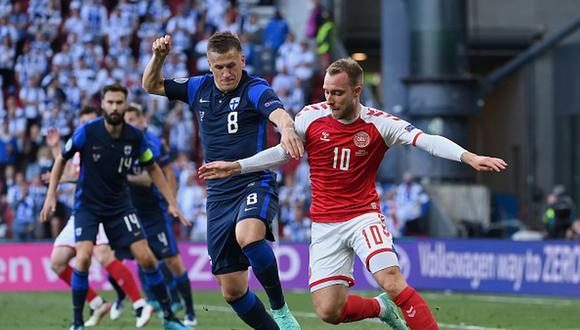 Christian Eriksen se desmayó a pocos minutos del final del primer tiempo entre Dinamarca y Finlandia. (Getty)