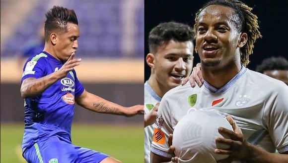 Cueva y Carrillo chocaron este domingo por la liga Árabe. (Fotos: @FatehClub/@Alhilal_FC)