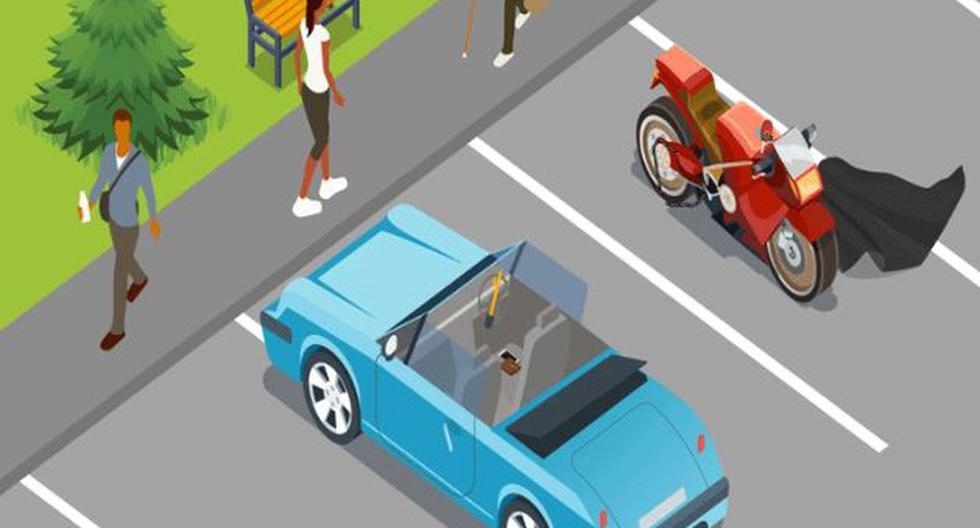 Es viral: halla los 10 objetos de valor que podrían robarte del auto y la moto de la imagen. (Foto: Captura/Facebook)