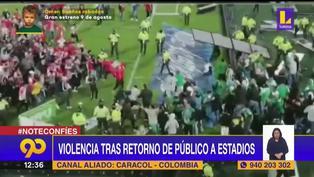 Hinchas del Santa Fe y Atlético Nacional protagonizan lamentable enfrentamiento en El Campín