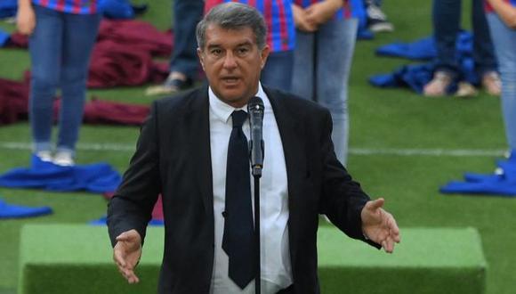 Joan Laporta habló de la actualidad del FC Barcelona en la presentación de Depay. (Foto: AFP)
