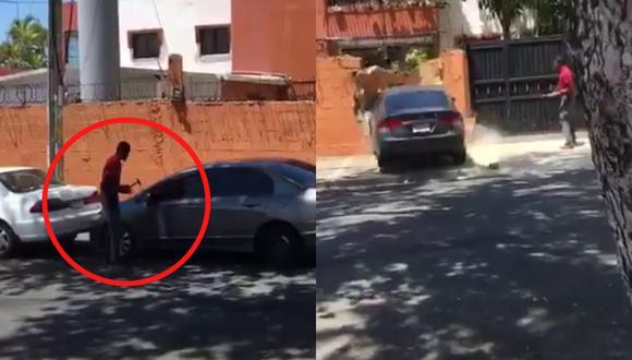 Un video viral muestra el desenlace de una disputa entre tres automovilistas que terminó con la destrucción de una propiedad. | Crédito: KeDificil.com / Facebook.
