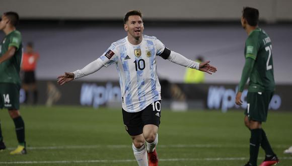 Lionel Messi anotó tres goles en la victoria de Argentina sobre Bolivia, por la fecha 10 de las Eliminatorias. (Foto: AFP).