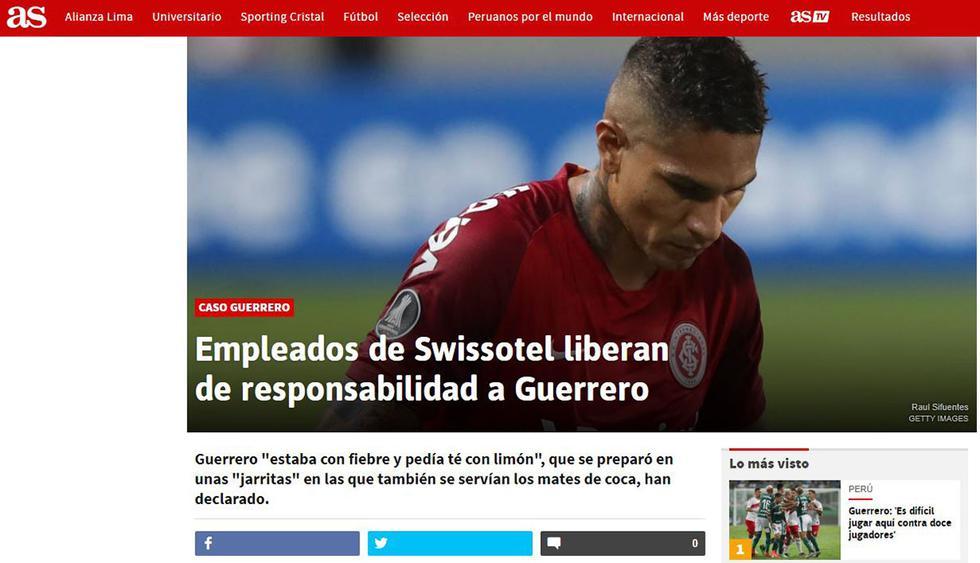 Paolo Guerrero en el diario AS.