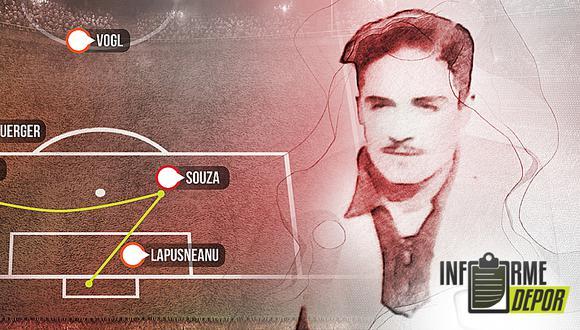 Luis de Souza debutó y se despidió de la Selección Peruana en el Mundial de Uruguay 1930. (Diseño: Christian Marlow)