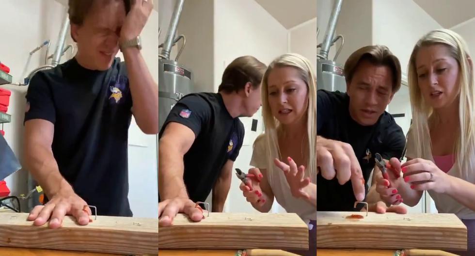 FOTO 1 DE 5 | Un video viral que muestra la pesada broma que un hombre le jugó a su novia haciéndole creer que se había clavado el dedo divide a las redes sociales. | Crédito: @EricInfoTech / Twitter. (Desliza a la izquierda para ver más fotos)