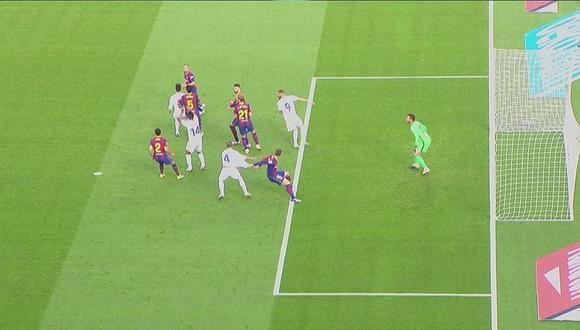El VAR señalló penal sobre Sergio Ramos tras el jalón de Lenglet. (Fuente: LaLiga)