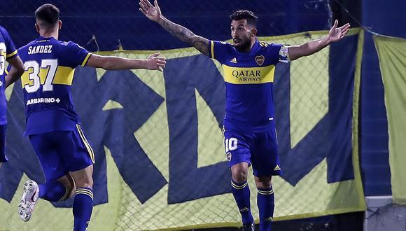 Carlos Tévez marcó el primer gol de Boca Juniors ante Santos. (Foto: Conmebol)