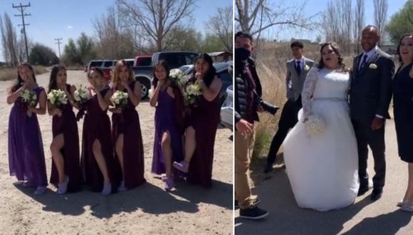 La novia quedó sorprendida al ver que sus damas de honor sustituyeron los tacones por unos Crocs. (Foto: @gabyrojas992 / TikTok)