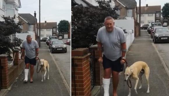 Un perro llamado Bill decidió imitar la forma en que su dueño camina con ayuda de muletas. (Foto: Russell Jones / Facebook)
