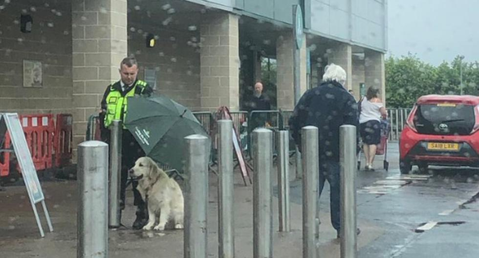 Foto 1 de 3 | El guardia de seguridad usó un paraguas para que el perro no se mojara por la lluvia. (Twitter: @MelGracie)