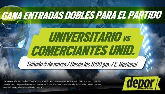 Universitario vs. Comerciantes: Depor te regala entradas dobles