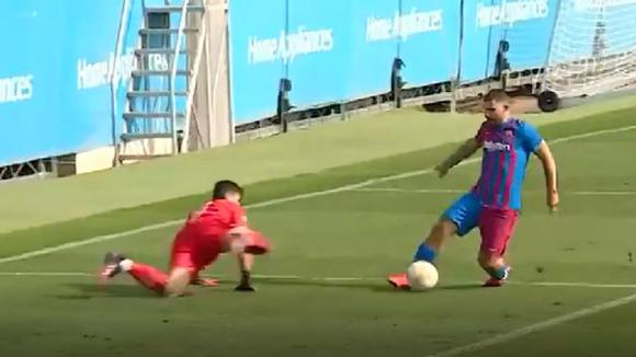 That was Sergio Agüero's first goal with Barcelona.  (Source: FC Barcelona)