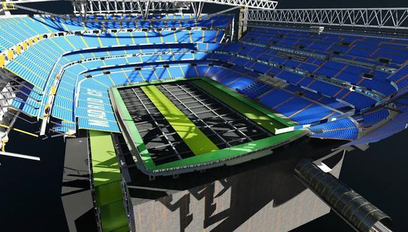 El nuevo césped del Bernabéu es retráctil. (Foto: Real Madrid)