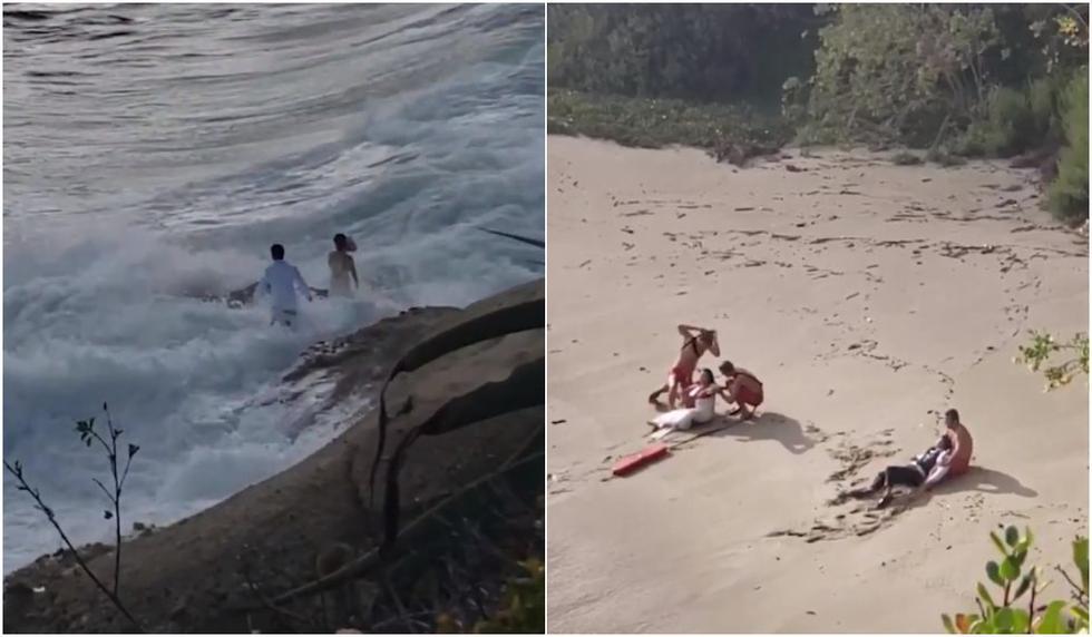 Novios se quisieron sacar foto y tuvieron que sacarlos del mar. (Captura/Twitter)