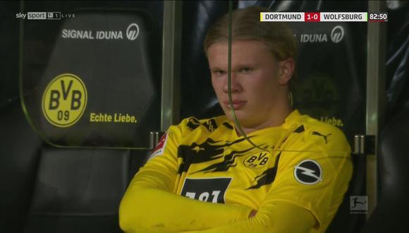 Erling Haaland y su molestia tras ser cambiado ante Wolfsburgo. (Captura: Sky Sports)