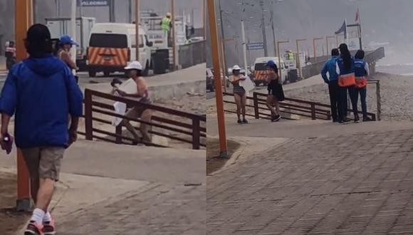 La mujer intentó sorprender a las autoridades municipales portando una tabla de cortar. | Foto: @alexndraen09