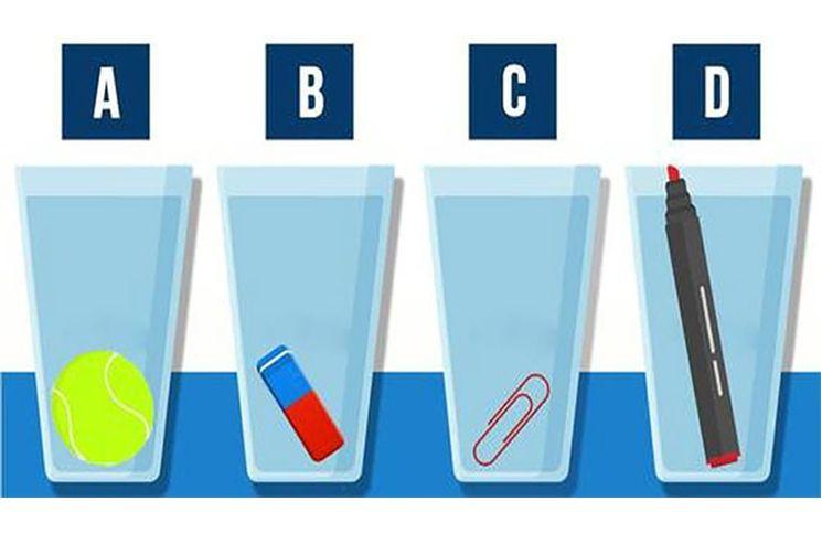 ¿Eres capaz de identificar el vaso que contiene más agua?