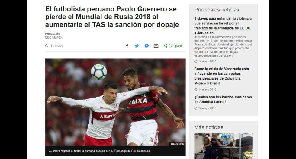 Paolo Guerrero no jugará el Mundial de Rusia 2018, luego de que el TAS aumentará la sanción del delantero de la Selección Peruana.