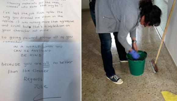 """Una limpiadora se despide a través de una carta tras la conducta """"agresiva y cruel"""" de su jefa. (Foto: @joecousins89 en Twitter y Peter Wilhelm en Pixabay)"""