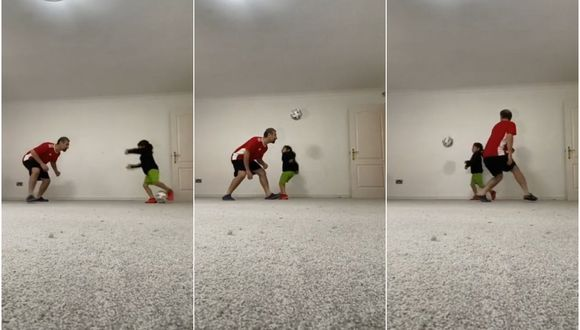 Niña realiza espectacular maniobra con balón y deja en ridículo a su padre. (TikTok)