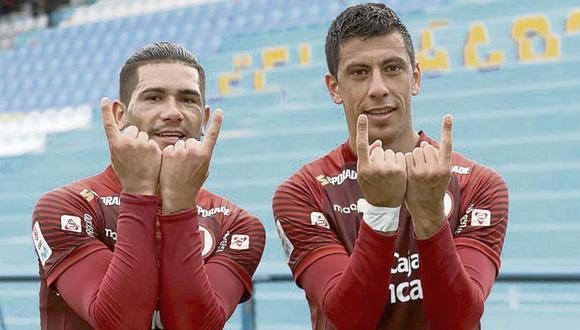 Dos Santos y Alonso se ganaron el cariño del hincha de Universitario. (Foto: Liga 1)
