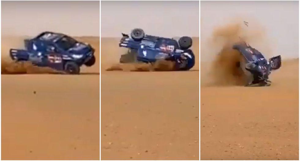 El terrible accidente que sufrió un piloto tras brutal volcadura de coche en el Dakar 2020. (Captura: @autolife_dakar)