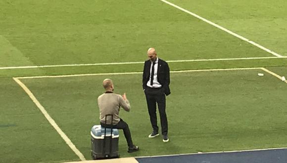 La conversación de Pep Guardiola y Zidane tras el Manchester City vs. Real Madrid. (Foto: Tiempo de Juego)