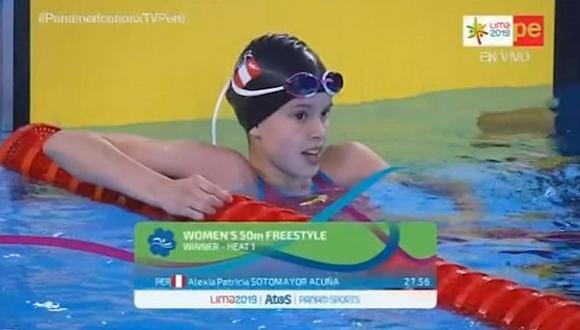 Alexia Sotomayor clasificó a la final de Natación estilo libre 50m en Lima 2019. (Video: TV Perú)